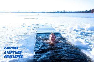 laponie finlande immersion bain baignade lac gele glace hiver